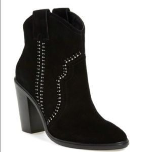 Joie Monte Suede Black Bootie with Studded Accents